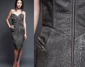 "vintage 80s North Beach Leather dress Michael Hoban black gray acid wash zippers strapless (28"" waist)"