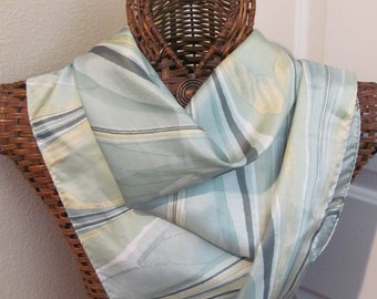 """Lovely Pale Green Acetate Scarf - 27"""" Inch 68cm Square"""
