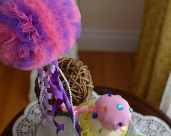 Bubble Gum Pink & Purple Toy Tulle Puff  Magic Wand-Flower Girl Accessory