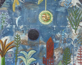 SALE!!!!Original Painting Fine Art Homage to Paul Klee Versankene Landschaft Modern LW