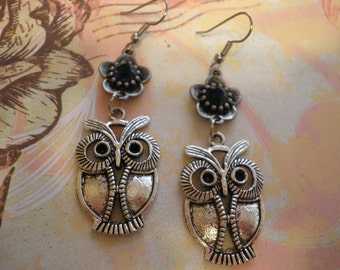 Sale Big Owl with a Flower Earrings