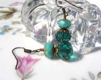 Turquoise and Teal Bead Earrings