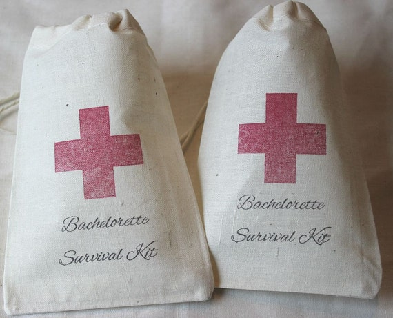 14 Bachelorette Survival Kit / Red Cross - Organic Cotton Drawstring Bags - Great for Bachelorette 4x6 inch