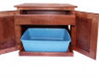 Wooden Amish Made Cat Litter Box Drawer Cabinet Kitten Kitty