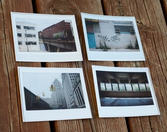 Group of four Detroit city assorted postcards - 4x5 Polaroid photography prints