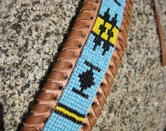 Loomed Indian Seed Beaded Bracelet on Woven Leather Cuff . Native American . Pow Wow . Hippie . Hobo . Tribal . Aztec . Navajo .  Handmade