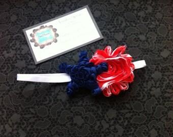 4th of July Chiffon Shabby Flower Skinny Headband NB - 3M