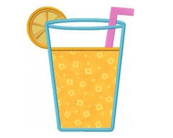 Lemonade summer drink applique machine embroidery design