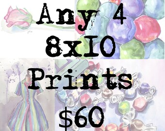 4 8x10 Print Set Watercolor Painting Artwork Illustrations, Any 4 8x10 Art Prints Wall Art