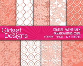 Coral Digital Paper Pack Quatrefoil Patterns Digital Damask Coral and White DIY Wedding Bridal Shower Engagement
