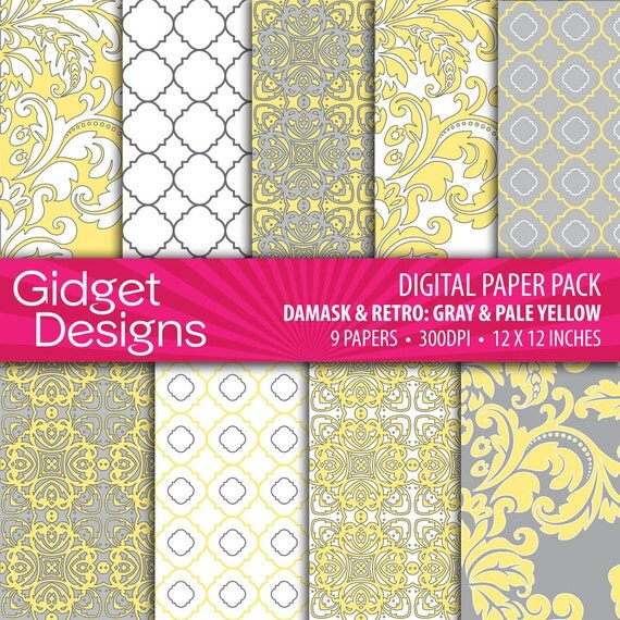 Gray and Yellow Digital Paper Pack Damask Quatrefoil Pattern Scrapbook Paper Printable Paper
