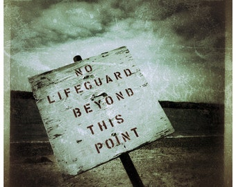 Metallic Photograph, Lifeguard Sign, Tiverton, Rhode Island, Fine Art gifts for woman, men, man