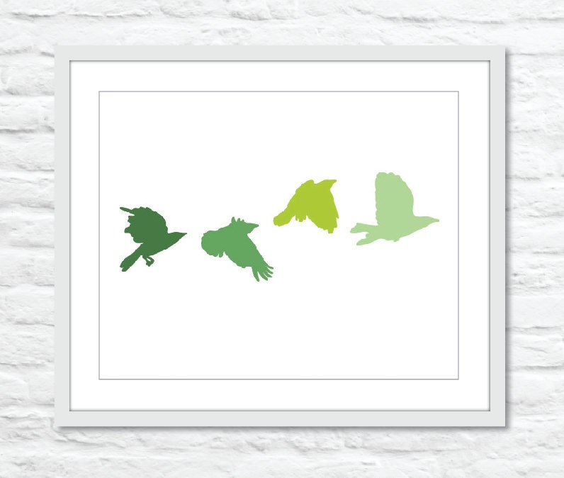 Flock of Green Birds Digital print Wall Art Modern by AldariArt