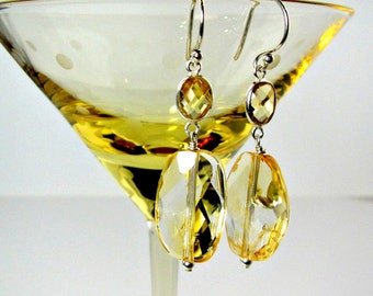 "LP 955 Sparkling Citrine Nugget And Oval Citrine Sterling Silver Bezel Earrings    "" One Of A Kind """