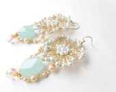 Reserved for Angie, Beaded Peach and Seafoam Blue Earrings
