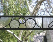 "Arts and Crafts Style Circles Transom--3"" x 28""  Stained Glass Window Panel"
