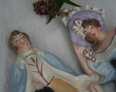 Pair of Period Dressed Figurines Man and Woman Gentleman and Lady