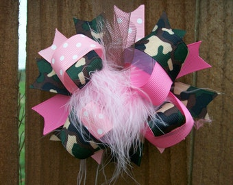 Camo Princess--Hair Bow---Full Size Funky Fun Over the Top Bow---Pink and Camo Print---