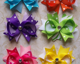Sweet Summer Time Hair Bow Set, 6 Bright Bows, 3 Inches wide