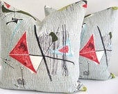 Pillow Cover Barkcloth Eames Retro Atomic Mid Century Last Two