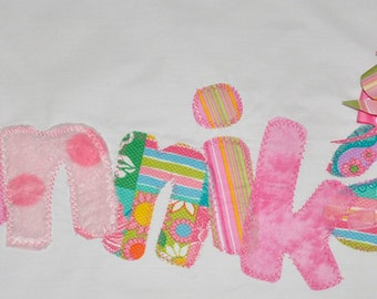 Applique Pillowcase, Personalized Pillowcase, Custom Pillow Case, Pillowcase with Bow, Whimsical Pillowcaes, Squad Gifts