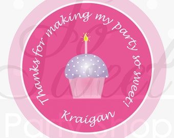 24 Girl's 1st Birthday Stickers - Cupcake Theme - Pink and Purple - Personalized Birthday Stickers