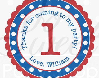 24 Birthday Stickers Favor Labels - Boys 1st Birthday - Red, Blue and Green Polkadots - Personalized