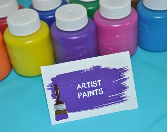 Artist Party Food Label Tent Cards - Painting Party Placecards or Buffet Labels - Candy Labels - Art Birthday Party Decorations - Set of 12