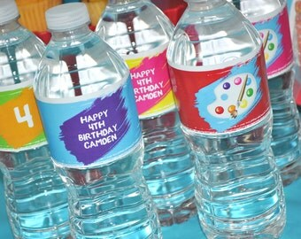 Artist Party Water Bottle Labels - Painting Party Decorations - Art Birthday Party Decorations - Drink Labels - Bottle Wraps - Set of 10