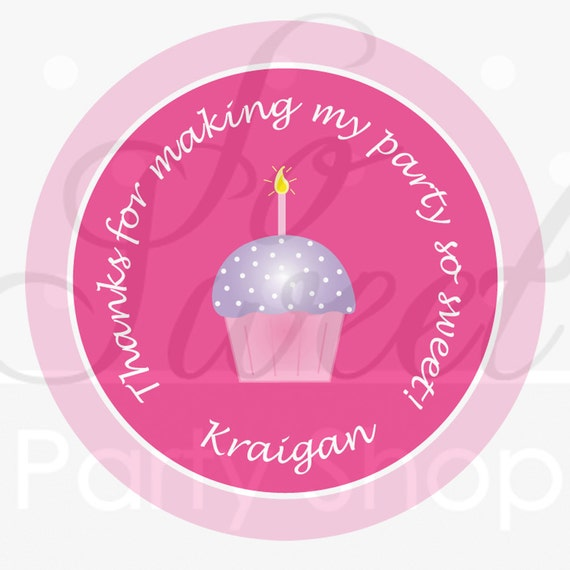 24 Girl's 1st Birthday Stickers Cupcake Theme By