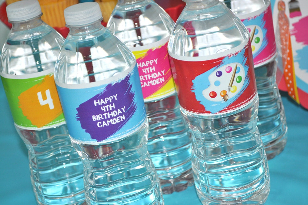 Artist party water bottle labels painting party decorations for Decor drink bottle