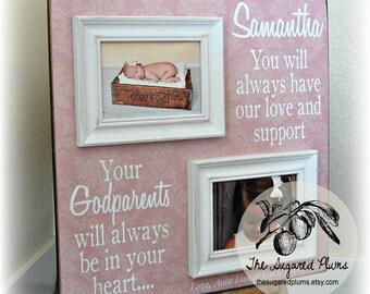Godchild, Goddaughter, Godson, Godparents, Baptism, Christening, First Communion, First Birthday, 20x20 Personalized Picture Frame, Gift