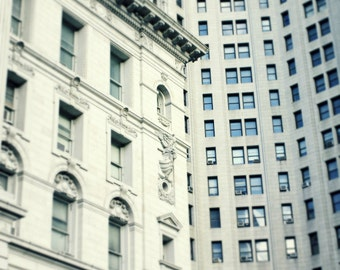 NYC Downtown Buildings Architecture Photography Print, New York City Manhattan Wall Art Decor