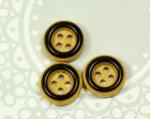 Khaki Buttons - Khaki Color Recessed Center Buttons, With Dark Brown Edge. 0.47 inch. 10 in a set