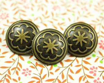 Metal Buttons - Flower Bloom Metal Buttons , Antique Brass Color , Shank , 0.59 inch , 10 pcs