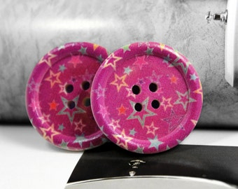 Wooden Buttons - Colorful Stars Picture Purple Wood Buttons 1.18 inch . 6 in a set