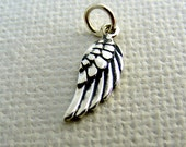 Tiny Silver Angel Wing Charm - Add On Charm, Sterling Wing Charm, Necklace Charms, Inspirational Charm