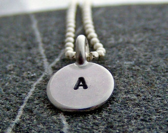 Tiny Initial Necklace, Sterling Personalized Necklace - One Personalized Silver Initial Charm Necklace, Jewelry for Mom