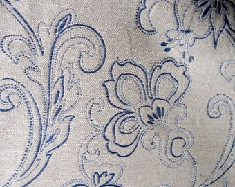 Imported Woven Cadet Blue on Vanilla fabric