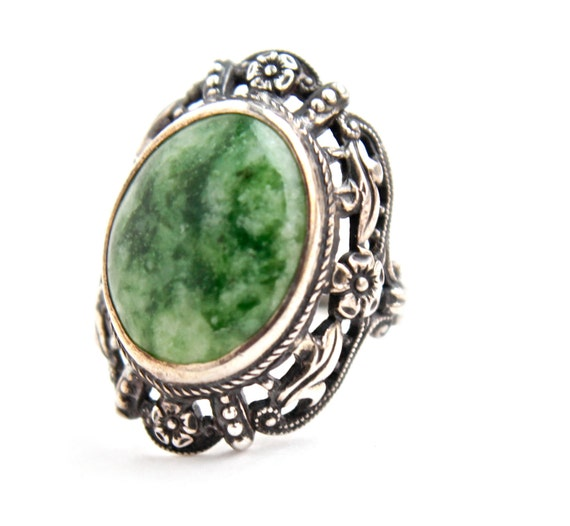 Antique Sterling Silver Art Nouveau Green Stone Ring -  Filigree Semi Precious Stone Jewelry Signed Uncas / Moss Agate Swirl