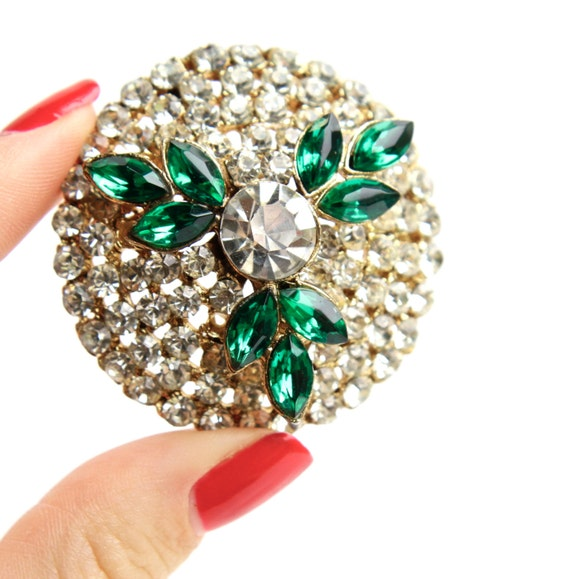 SALE - Vintage Clear & Green Rhinestone Brooch - Large Gold Tone Costume Jewelry Pin / Cluster Dome