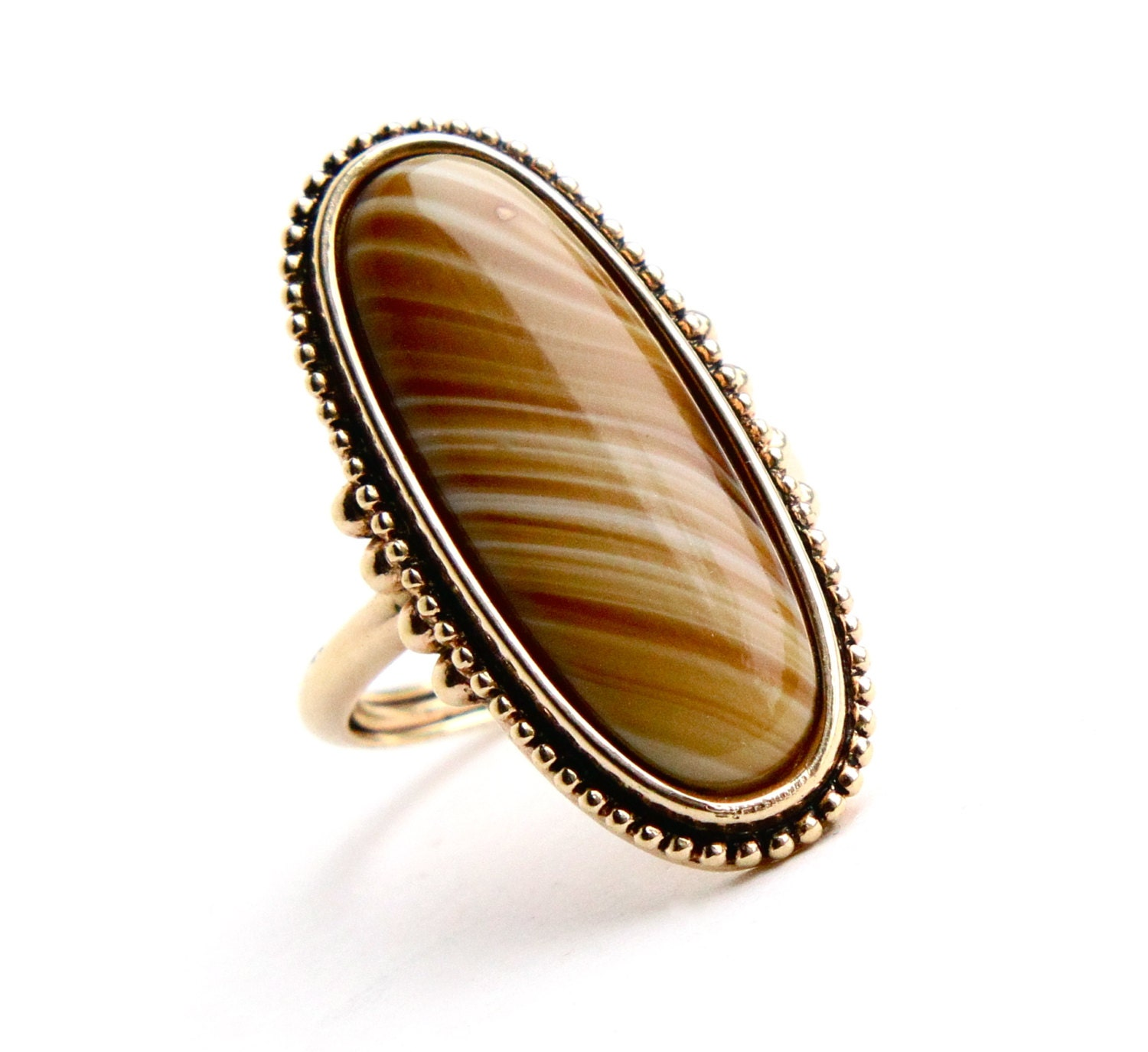 Sale Vintage Yellow Brown Stone Ring Signed By Maejeanvintage