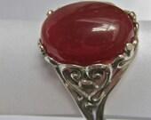 Beautiful Cornelian Cabochon Ring in Sterling Silver (R112)