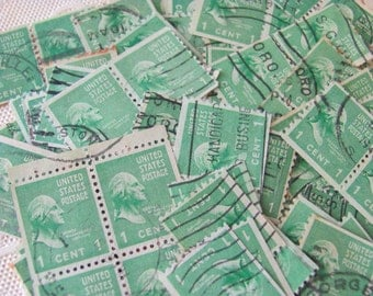Father of our Country 50 Vintage US Postage Stamps President George Washington 1937 Prexies 1cent Jade Green Emerald Scott 804 Scrapbooking