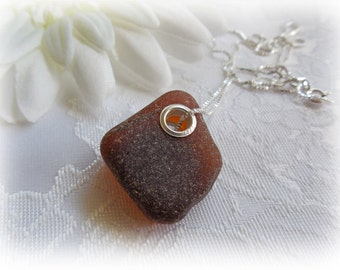 Brown Sea Beach Glass Pendant Large Hole Sterling Silver Necklace