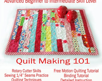 Instant Download PDF Sewing Pattern Quilt Making 101 - Learn by making placemats - Stash Buster Advanced Beginner  to Intermediate Skills