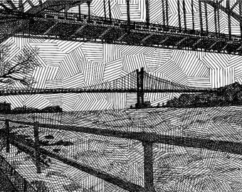 Astoria Park on a Rainy Day - Limited Edition Original Signed Print Drawing no. 12/100 - Astoria Queens New York City