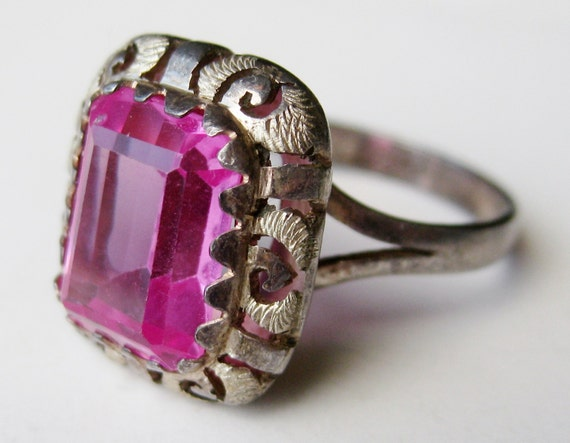 vintage ring 50s pink emerald cut sterling by