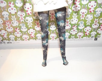 Black with blue and cream flowers sheer tights for Pullip doll