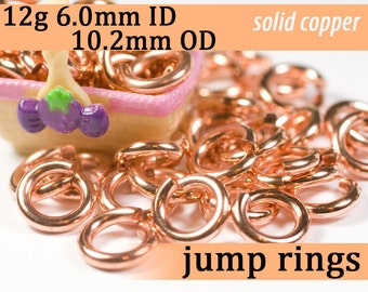 12g 6.0 mm ID 10.2 mm OD copper jump rings -- 12g6.00 open jumprings links